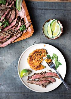 Grilled Ginger-Marinated Flank Steak Recipe Honey adds a contrasting sweetness to the charred tender beef suffused with ginger, lime, and garlic, which can be marinated anywhere from 30 minutes to overnight. Good Steak Recipes, Flank Steak Recipes, Grilled Steak Recipes, Grilling Recipes, Beef Recipes, Cooking Recipes, Grilled Beef, Grilling Tips, Cajun Recipes