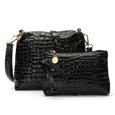 2PCS Women Bags 2016 Fashion Women Crocodile Grain Handbags Fashion Female Ladies PU Leather Messenger Shoulder Bags