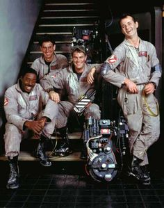 "Ernie Hudson, Harold Ramis, Dan Aykroyd and Bill Murray on the set of ""Ghostbusters"""