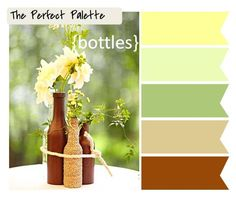 {Bottles}: Yellow, Shades of Green + Brown http://www.theperfectpalette.com/2011/09/perfect-palette-look-at-how-perfect.html
