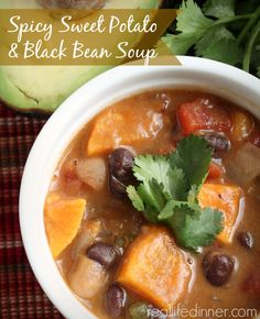 Sweet Potatoes and Black Beans were meant for each other. They pair perfectly in this Spicy Sweet Potato and Black Bean Soup Recipe. Healthy and delicious