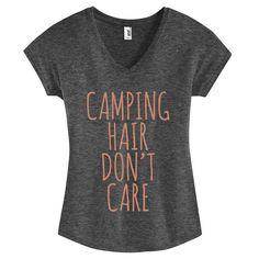 PINK GLITZ PRINT! Camping Hair Don't Care, Womens V-Neck Tri-Blend