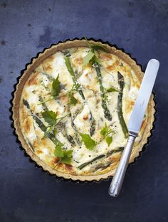 Asparagus and wild sorrel tart