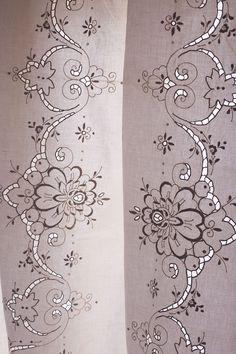 Vintage hand embroidery linen tablecloth