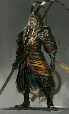 Sun Wukong, the monkey King, a Chinese God. He could lift jump and transform into 72 different things; animals, objects and people yet he cant hide his tail Fantasy Warrior, Fantasy Rpg, Dark Fantasy, Medieval Fantasy, Character Concept, Character Art, Concept Art, Fantasy Creatures, Mythical Creatures
