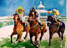 Pat Weaver Watercolor - Racing Horses