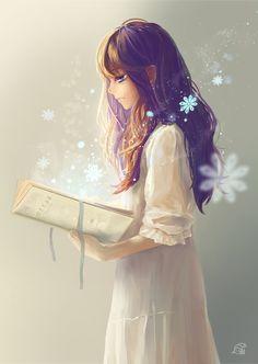 Аниме картинка 1200x1691 с оригинальное изображение mikan (artist) длинные волосы single высокое изображение голубые глаза каштановые волосы смотрит в сторону профиль стоя свечение expressionless девушка платье лента (ленты) книга (книги) белое платье снежинка (снежинки)