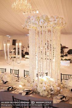 wedding all white reception decor