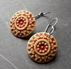 Porcelain Earrings - Cottage Medallions  by RoundRabbit, via Flickr