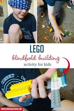 The LEGO Blindfold Building Activity for Kids Outdoor Activities For Kids, Motor Activities, Creative Activities, Hands On Activities, Sensory Activities, Preschool Activities, Kids C, Learning Through Play, Play To Learn