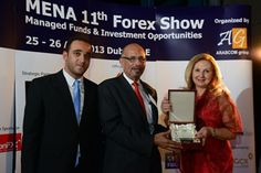 Stock market legend, Mike Baghdady, is getting his award in MENA 11th forex show award ceromany.
