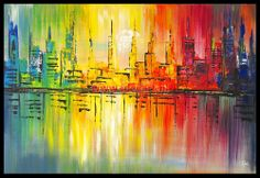 Schilderij kleurrijke skyline