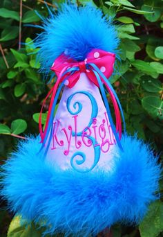 Custom First Birthday Hat Personalized Girl or Boy by ginghambunny