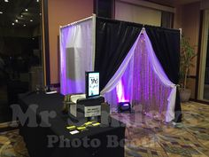 Enclosed Booth with Uplighting and Gold Sequins backdrop