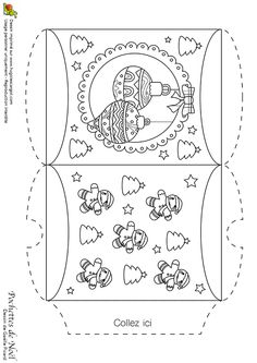 Dessin à colorier d'une pochette de Noël avec des boules pour le sapin - Hugolescargot.com