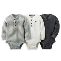 carter's® 3-Pack Long-Sleeve Thermal Bodysuits in Grey/White - buybuyBaby.com