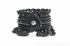 Black Crochet Bracelet Cuff. Beaded Crochet by KaterinaDimitrova