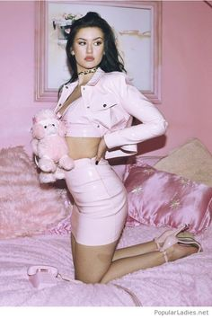 Mini Faux Leather Skirt Pink /Pink skirt and jacket with top , Buy here ,Great discounts, for Ch… Faux Leather Skirt, Faux Leather Jackets, Cropped Leather Jacket, Pink Fashion, Fashion Outfits, Womens Fashion, Pink Aesthetic, Aesthetic Clothes, Mode Rose