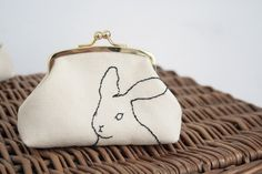 hand embroidered rabbit purse