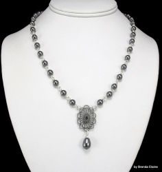 Pearl Necklace with Filigree and Gray Pearl Teardrop Pendant