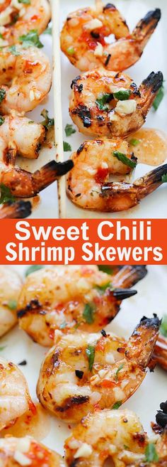Sweet Chili Shrimp Skewers - perfectly grilled shrimp on sticks, marinated with Thai sweet chili sauce. These shrimp skewers are so easy to make and so delicious | rasamalaysia.com Pork Rib Recipes, Grilling Recipes, Fish Recipes, Seafood Recipes, Cooking Recipes, Vegetarian Grilling, Healthy Grilling, Barbecue Recipes, Barbecue Sauce