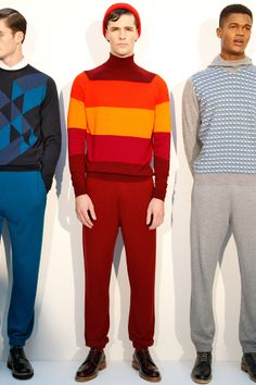 John Smedley's, Menswear Collection. Autumn, Winter, 2014. Loving the outfit on the right. Stylish, sweatsuit.