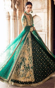 Buy Pakistani Bridal Dress-Pakistani Bridal Lehnga in Emerald Green for Wedding-Pakistani Bridal Wear With Gold Dabka, N Indian Wedding Gowns, Green Wedding Dresses, Pakistani Wedding Outfits, Indian Bridal Outfits, Pakistani Wedding Dresses, Indian Dresses, Indian Weddings, Indian Wedding Clothes, Emerald Green Wedding Dress