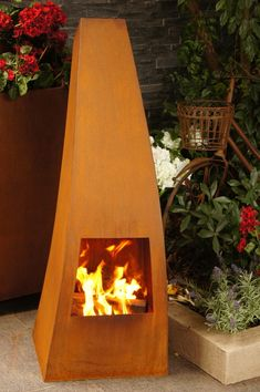 Onasis fireplace made form corten steel.