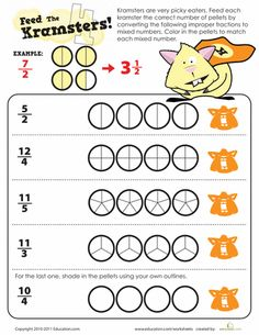 Worksheets, Fractions worksheets and Math fractions on Pinterest
