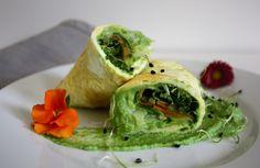 Wraps de tortilla con crema de brócoli y verduras