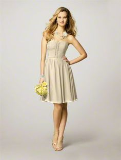 champagne bridesmaid dress . . . like the color... Not the style completely