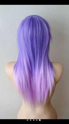 Pastel light purple ombre layered scene hairstyle Heat resistant synthetic wig for daily use or cosplay Long Hair Cuts, Long Hair Styles, Pastel Wig, Lilac, Lavender, Purple Ombre, Scene Hair, Wig Cap, Hair Tools