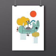 Goose in a Plane Gicleé Art Print by LOCALlure on Etsy https://www.etsy.com/listing/214632089/goose-in-a-plane-giclee-art-print
