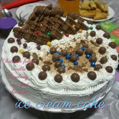 Ice Cream Cake recipe by Fouziah Pailwan posted on 17 Sep 2018 . Recipe has a rating of by 1 members and the recipe belongs in the Desserts, Sweet Meats recipes category Sweet Meat Recipe, Cream Cake, Ice Cream, Food Categories, Icing, Cake Recipes, Vanilla, Chocolate, Breakfast