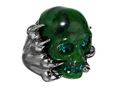 Alexander McQueen Skull Plexi Ring Emerald - 6pm.com  I would wear this every day...forever