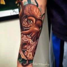 "fkirons: ""Awesome new school octopus done by @tatubaby using the Spektra Halo! #fkirons #spektrahalo #octopus www.fkirons.com"""