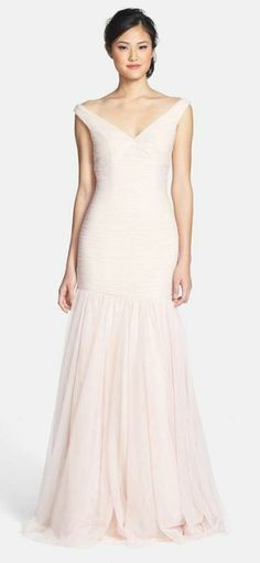 Long blush bridesmaid dress in soft tulle. I think this would be a very pretty wedding dress.