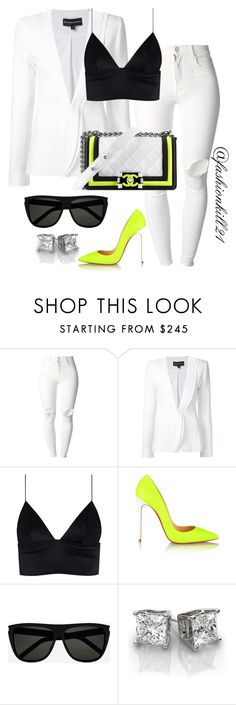 """Untitled #1334"" by fashionkill21 ❤ liked on Polyvore featuring (+) PEOPLE, Brandon Maxwell, Chanel, T By Alexander Wang, Christian Louboutin and Yves Saint Laurent"