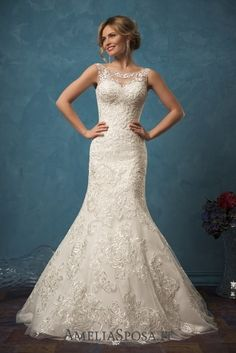 Amelia Sposa Open Back Mermaid Lace Wedding Dresses Sarah / http://www.deerpearlflowers.com/amelia-sposa-2017-wedding-dresses/