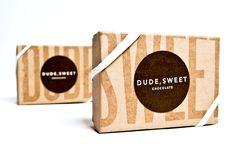 Dude sweet chocolate, packaging design, craft paper, stamp design, economical packaging design, round stickers, chocolate packaging, organic packaging,