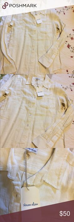 "Steven Alan Reverse Seam Classic Button Down Shirt Brand new condition with tag.  Size S.  60% linen and 40% cotton. Classic button down shirt with button cuffs.  USAMade. Bust 36"". Length from shoulder to bottom 25"". Creamy Ivory white.  Trademark reverse seam design Steven Alan Tops Button Down Shirts"