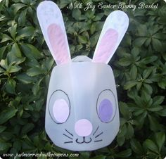 Milk Jug Easter Bunny Basket Kids Craft. My son is the perfect age for this, need to remember to save a carton #easter  #paas