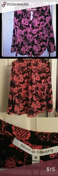 Collective Concepts black and pink floral blouse Black and hot pink Collective Concepts floral blouse.  Light and drapey with a full sleeve and split neckline. Size medium.  NWT Collective Concepts Tops Blouses
