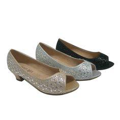 Girls Black Sparkle Texture Peep Toe Low Heeled Dress Shoes 11-3 Kids