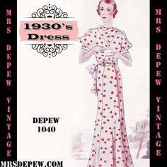 Vintage Sewing Pattern 1930's Dress in Any Size by Mrs Depew Vintage.