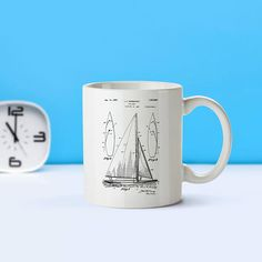 Sailboat patent mug - coffee mug - coffee lover -patent art -patent mug -Nautical Decor- Sailing Decor-Sailing Collectible-Sailing Gift-M85 by STANLEYprintHOUSE  17.00 USD  Whether you're drinking your morning coffee, your evening tea, or something in between – this mug's for you! It's sturdy and glossy with a vivid print that'll withstand the microwave and dishwasher.  With over 3000 Patents to choose from, you will be able to find something for every ..  https://www.etsy.com/ca/l..