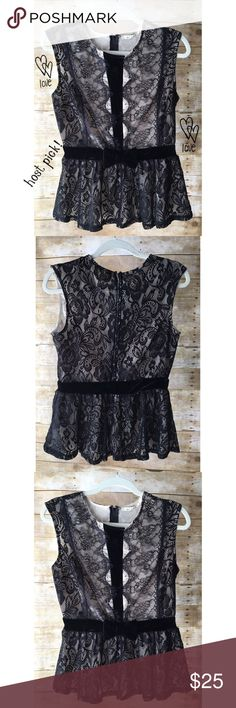HOST PICK!!! Brand New Gorgeous Black Lace Top Beautiful, new sleeveless black lace top featuring a bow, velvety accents & lining. Built in belt; zip back. Francesca's Collections Tops