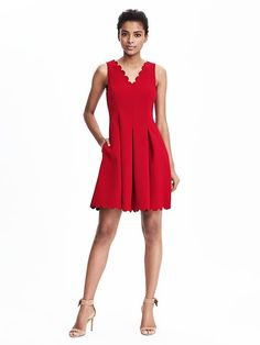 Scalloped red dress | Banana Republic