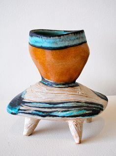 Suze Lindsay.  Idea - timber legs + concrete top made with same principals as stool.