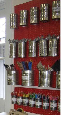 Diy Desk Organization Mason Jars Tin Cans 39 Super Ideas – Office Organization At Work Garage Workshop Organization, Pegboard Organization, Office Organization At Work, Diy Garage Storage, Craft Storage, Tool Storage, Organization Ideas, Storage Ideas, Diy Workshop